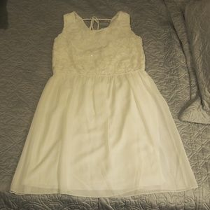 White Chiffon Dress With Sequin Roses NWOT